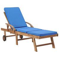 vidaXL Saulės gultas su čiužiniu, mėlynas, tikmedžio medienos masyvas