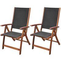 vidaXL Sulankstomos sodo kėdės, 2 vnt., akacija ir tekstilenas