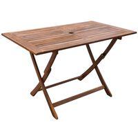 vidaXL Sodo stalas, 120x70x75 cm, akacijos medienos masyvas