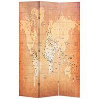 vidaXL Kambarių pertvara, 120x170cm, pasaulio žemėlapis, geltonas