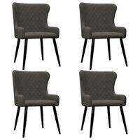 vidaXL Valgomojo kėdės, 4 vnt., pilkos spalvos, aksomas (2x282527)