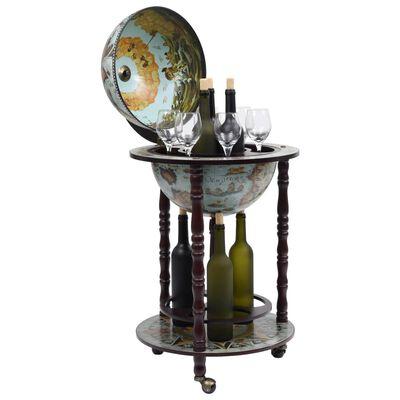 vidaXL Vyno butelių laikiklis, mėlynas, eukaliptas, gaublio formos