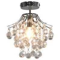 vidaXL Lubinis šviestuvas su krišt. karol., sidabro sp., apvalus, E14