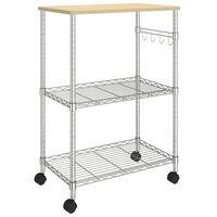 vidaXL Virtuvės vežimėlis, 3 aukštų, 61x36x85cm, chromuota geležis