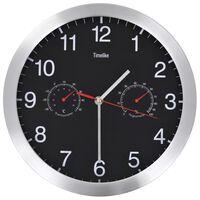 vidaXL Sieninis laikrodis su kvarciniu mechanizmu, juodas, 30cm