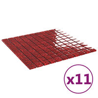vidaXL Mozaikinės plytelės, 11vnt., raudonos, 30x30cm, stiklas
