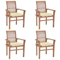 vidaXL Dining Chairs 4 pcs with Cream White Cushions Solid Teak Wood (44665+314867)