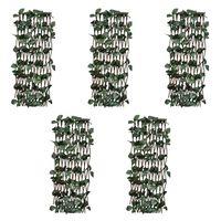 vidaXL Treliažai-tvoros, 5vnt., 180x120cm, gluosnis, su lapais