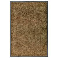 vidaXL Durų kilimėlis, rudos spalvos, 60x90cm, plaunamas