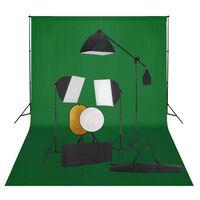 vidaXL Fotostudijos komplektas su šviesdėžėmis, fonu ir reflektoriumi