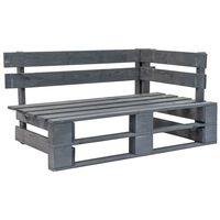 vidaXL Kampinis sodo suoliukas iš palečių, pilkos spalvos, mediena