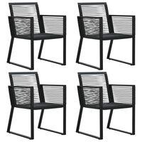 vidaXL Sodo kėdės, 4vnt., juodos spalvos, ratanas, iš virvučių