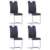 vidaXL Gembinės valgomojo kėdės, 4 vnt., juodos, dirbtinė oda