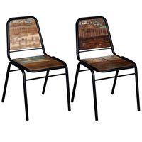 vidaXL Valgomojo kėdės, 2 vnt., perdirbtos medienos masyvas
