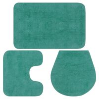 vidaXL Vonios kilimėlių rinkinys, 3d., turkio spalvos, audinys