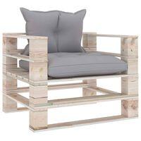 vidaXL Sodo sofa iš palečių su pilkomis languotomis pagalvėmis, pušis