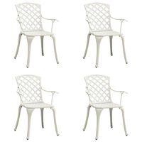 vidaXL Sodo kėdės, 4vnt., baltos spalvos, lietas aliuminis