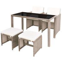 vidaXL Lauko valgomojo baldų kompl. su pagalv., 9d., krem., polirat.