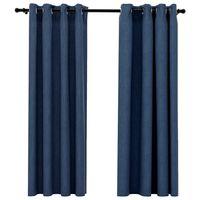 vidaXL Naktinės užuolaidos su kilputėmis, 2vnt., mėlynos, 140x175cm