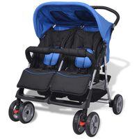 vidaXL Vaikiškas vežimėlis dvynukams, plienas, mėlynas/juodas