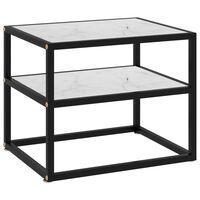 vidaXL Konsolinis staliukas, baltas, 50x40x40cm, grūdintas stiklas