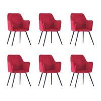 vidaXL Valgomojo kėdės, 6vnt., tamsiai raudonos, aksomas (3x287824)