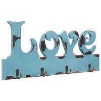 vidaXL Prie sienos montuojama paltų kabykla LOVE, 50x23cm