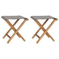 vidaXL Sulankstomos kėdės, 2vnt., tamsiai pilkos, tikmedis ir audinys