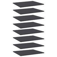 vidaXL Knygų lentynos plokštės, 8vnt., pilkos, 60x50x1,5cm, MDP
