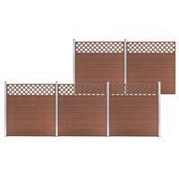vidaXL Tvoros rinkinys, rudas, 872x185cm, WPC, 5 kvadratinės