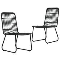 vidaXL Sodo kėdės, 2vnt., juodos spalvos, poliratanas