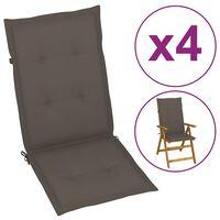 vidaXL Sodo kėdės pagalvėlės, 4vnt., taupe spalvos, 120x50x4 cm