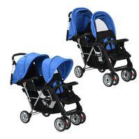 vidaXL Vaikiškas dvivietis vežimėlis, plienas, mėlynas/juodas