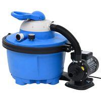vidaXL Smėlio filtras su siurbliu, mėlynas ir juodas, 385x620x432mm