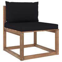 vidaXL Vidurinė sodo sofos dalis iš palečių su juodomis pagalvėlėmis