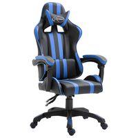 vidaXL Žaidimų kėdė, mėlynos spalvos, dirbtinė oda