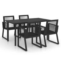 vidaXL Lauko valgomojo baldų komplektas, 5 dalių, juodas, PVC ratanas