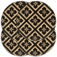 vidaXL Stalo kilimėliai, 4 vnt., juodi, 38cm, džiutas, apvalūs