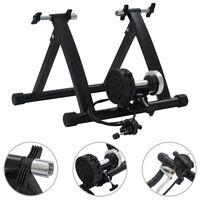 """vidaXL Treniruoklis dviratis, juodos spalvos, 26""""-28"""", plienas"""