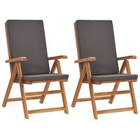 vidaXL Atlošiamos sodo kėdės su pagalvėmis, 2vnt., pilkos, tikmedis