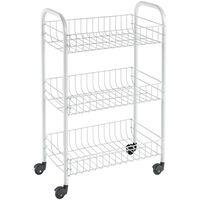 Metaltex Virtuvės vežimėlis su 3 krepšiais Siena, baltos spalvos