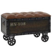 vidaXL Suoliukas-daiktadėžė, mediena ir dirbtinė oda, 80,5x41x50 cm