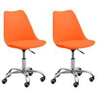 vidaXL Biuro kėdės, 2vnt., oranžinės spalvos, dirbtinė oda