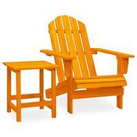 vidaXL Sodo Adirondack kėdė su staliuku, oranžinė, eglės masyvas