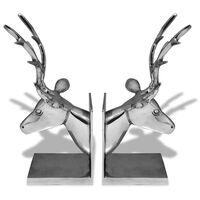 vidaXL Knygų laikiklis elnias, 2 vnt., aliuminis, sidabrinės spalvos