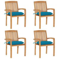 vidaXL Sudedamos sodo kėdės su pagalvėlėmis, 4vnt., tikmedžio masyvas