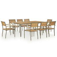 vidaXL Lauko baldų komplektas, 9 dalių, akacijos mediena ir plienas