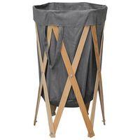vidaXL Sulankstomas skalbinių krepšys, pilkas, mediena ir audinys