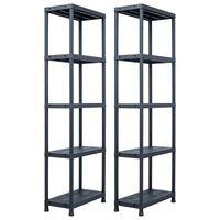 vidaXL Sandėliavimo lentynos, 2vnt., juod., 60x30x180cm, plast., 125kg