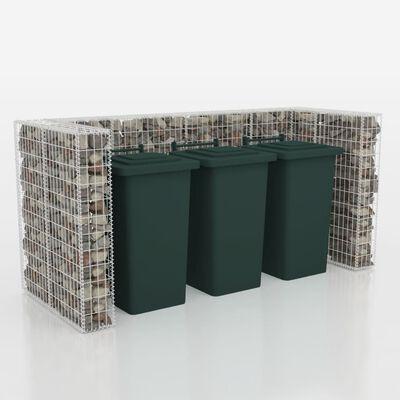vidaXL Gabionas 3 šiukšlių konteineriams, plienas, 110x100x120 cm